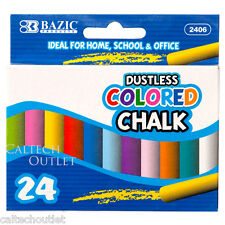 24PC Dustless Colored Chalk Assorted Drawing Colors