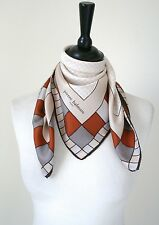 Pierre Balmain Vintage silk scarf - Brown / Beige Check 1970s - Small