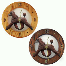 Poodle Wood Wall Clock Plaque Brn