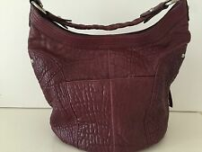 "WOMEN LEATHER TOTE BAG""HYPE"" BURGUNDY 14""X11""X7""SILVER TONE HDW. BRAIDED HANDLE"