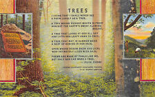 North Carolina, Joyce Kilmer Memorial Forest, Tree Poem Linen Postcard Unposted