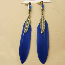 1pair Fashion feather earring Bohemian Tassel Long Dangling Charm jewelry blue