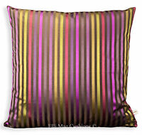 Designer Pink Lime Luxury Stripe Satin Pink Cushion Pillow Cover