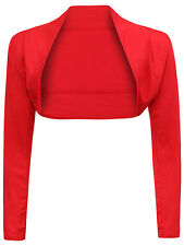NEW LADIES WOMENS LONG SLEEVE BOLERO SHRUG CARDIGAN LADIES PLAIN TOP SIZE 8-22