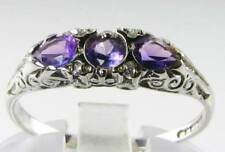 DIVINE 9K 9CT WHITE GOLD AFRICAN AMETHYST & DIAMOND TEAR DROP RING FREE RESIZE