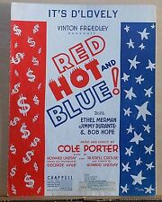 """It's D'Lovely -1936 sheet music - from Cole Porter musical """"Red Hot And Blue!"""""""