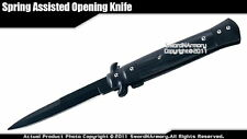Stiletto Spring Assisted Opening Blacked Tactical Folding Pocket Knife