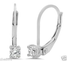 0.25 CT BRILLIANT ROUND SOLITAIRE DROP DANGLE LEVERBACK EARRINGS 14K WHITE GOLD