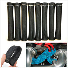 8 PCS BLACK SPARK PLUG WIRE BOOT HEAT SHIELD PROTECTOR SLEEVE SLEEVING FUEL OIL