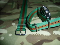 WRAC green / brown G1098 watch strap, nickel fittings, Womens Royal Army Corps