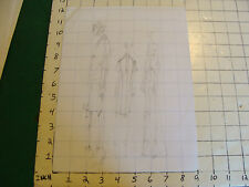 vintage Funky, Hip, Fashion Drawing: 3 figures one dress see through