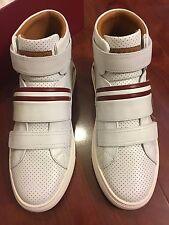 NEW BALLY HERICK WHITE CALF PERFORATED SNEAKERS MEN SIZE US 7 D, UK 6 E, EUR 40