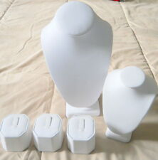 Set of 5 Piece Jewelry Display Pieces Busts Rings Necklaces Faux White Leather