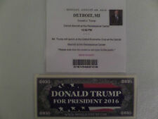 DONALD TRUMP, 8-8-2016, COBO CENTER, DETROIT, MI, (MEDIA ONLY) RALLY TICKET +