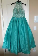Two Piece High-Neck Tiffany Designs Prom Dress Size 14 in Color Mermaid