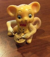 Vintage Yellow Sparkled Drummer Mouse Figurine