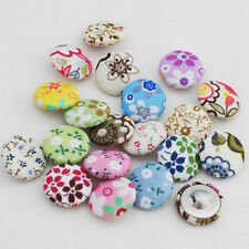 20 Floral Fabric Covered Sewing Buttons - Cute Flowers