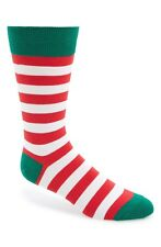 Men's Hot Sox Stripe Socks Red Christmas Elf Stripes Crew Size 10-13