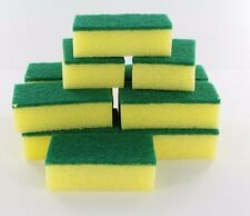 Lot of 48X Yellow Sponge Green Scrubber Scrub Scourer for Wash Clean Dish