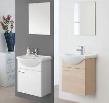 Mobile Arredo bagno sospeso bianco laccato specchiera56 lavabo ceramica moderno2