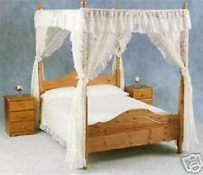 NET CURTAIN LACE FOUR POSTER BED  DRAPES AND VALANCE