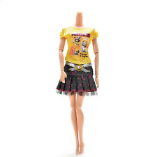 Casual Skirt T-shirt for Barbies with Magic Pasting Doll Clothes Accessories New
