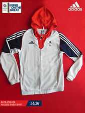 ADIDAS TEAM GB ISSUE - ELITE ATHLETE HOODED WHITE SWEATSHIRT - SIZE 34/36