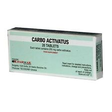 Activated Charcoal -  Carbo activatus Tablets 250 mg * 20 Digestion Aid, Detox