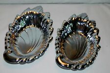 TWO VINTAGE SHELTON WARE NYC SILVER /CHROME LEAF SHAPE SERVING TRAYS.