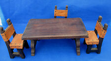 Vintage Miniature Table 3 Chairs Wood Leather Viking Medieval Exhibit Display