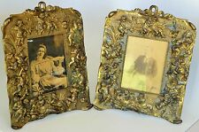 """ANTIQUE BRASS EASEL BACK PICTURE TWO FRAME ENGRAVE CHERUB DECORATION ART 11.5"""""""