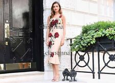 Dolce & Gabbana AUTH Red Green Rose Flounce Peach Fluid Crepe Midi Dress 42 NWT