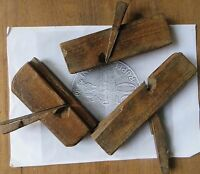 Antique Wooden Woodworking MOLDING PLANES 3 Old Used Art Collectibles Rarts 1920