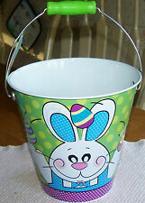 BRIGHTLY COLORED EASTER PAIL/BUCKET. BUNNY RABBITS & EASTER EGG DESIGN. NWT.