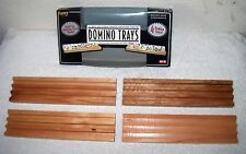 FUNDEX Lot of 4 Wooden WOOD DOMINO TRAYS Holds 15 DOMINOS PER TRAY,Mexican Train