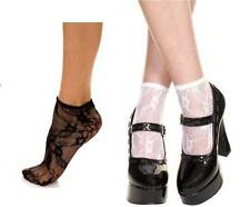 3 Pairs - Sheer Floral Flower Lace Nylon Ankle High Socks Lolita Pin-Up Vintage