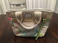 Coach Hampton Signature Scribble Multi Color Small Tote Purse Handbag MOEM #201