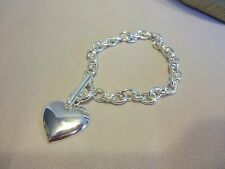 "8"" Silvertone Link Bracelet with Heart Dangle and Toggle Clasp"
