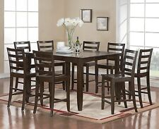 East West Furniture 7pc Fairwinds counter height set table + 6 chairs cappuccino