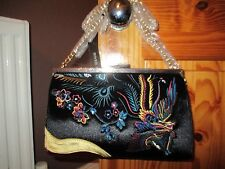 RIVER ISLAND BLACK EMBROIDERED VELVET GOLD CHAIN CROSS BODY CLUTCH BAG BNWT