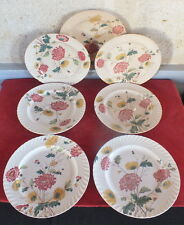serie 6 grandes assiettes faience E.Bourgeois decor floral