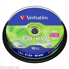 VERBATIM CD-RW rewriteable / rerecordable CD DISCHI SPINDLE-confezione da 10 43480