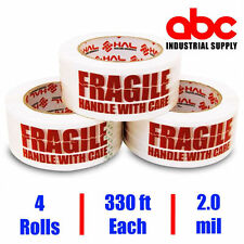 2 inch 4 Rolls Fragile Marking Packing Tape Shipping- 2.0 mil 330 feet 110 yards