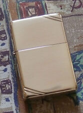 PLAIN VINTAGE HIGH POLISHED BRASS W SLASHES ZIPPO LIGHTER FREE P&P FREE FLINTS