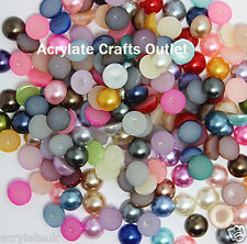 144x 10mm Mixed Colours Flat Back Half Round Resin Pearls Crafts Embellishments