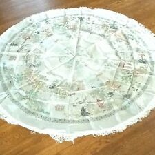 BROCADED CHINESE SILK EMBROIDERED TABLE COVER OR WALL HANGING ROUND