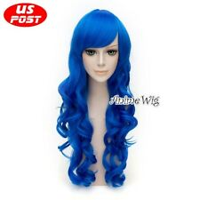 FAIRY TAIL Juvia Loxar Long Curly Royal Blue Anime Halloween Cosplay Hair Wig