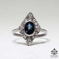 Antique Art Deco Platinum Diamond & 1ct. Sapphire Ring