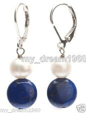 Genuine White Pearl Natural Blue lapis lazuli silver Leverback Hook Earrings
