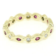 Petite 18K Yellow Gold 0.40ctw Round Ruby & Diamond Eternity Band Ring Sz 5.5